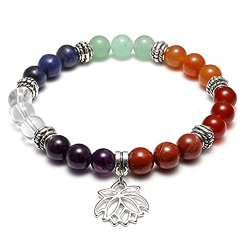 JOVIVI 7 Chakras Yoga Meditation Healing Balancing Round Stone Beads Stretch Bracelet with Lotus