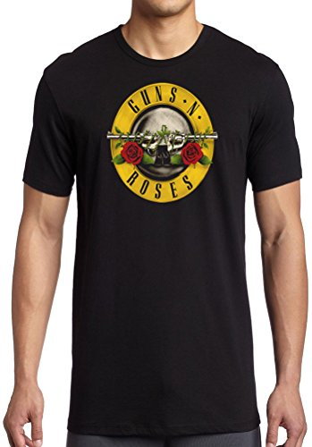 Guns N Roses Classic Logo Licensed Official – Camiseta negro Adult Mens 38-40 Inches M