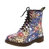 Womens Ankle Boots Loafer Wohnungen Western Cowboy Style Vintage Blumendruck Damen Komfortable Anti-Slip Martin Stiefel,Blue-35