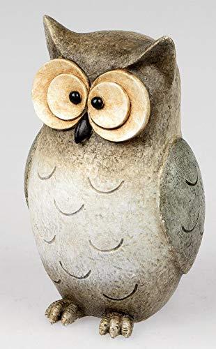 Deko-Eule 20cm, kunsthandwerkliche Figur aus Kunststein, aufwendig gestaltet und bemalt