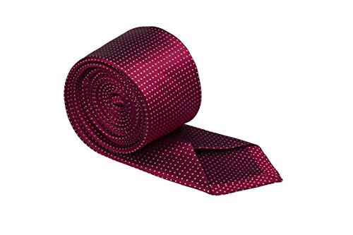 Notch Schmale Krawatte aus Seide für Herren - Rote Basis und winzige weisse Pünktchen (Seide Winzige)