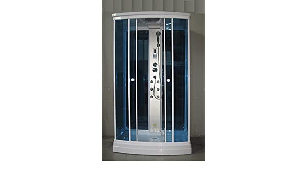 Cabina box idromassaggio con colonna doccia centrale e
