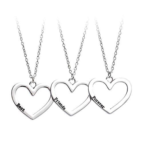 Kyoidy 3 Stücke Freunde für Immer Halskette Hollow Heart Anhänger Halskette für BFF Freundschaft Halskette