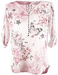 Fashion Damen Longshirt Schlupfbluse Shirt Bluse mit Nieten mit Sternen  Schmetterling Blumen Muster V-Ausschnitt und 3 4 Ärmel… e9ac8f61ed