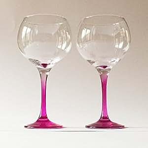 Gin Glasses Large 790ml Copa De Balon Pink Stem