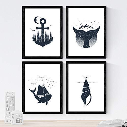 Nacnic Set de 4 láminas de Mar,en tamaño A4, Poster Papel 250 gr Marco