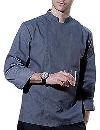 Dexinx Hombres de Color Sólido Transpirables Cocineros Uniforme de la Chaqueta de Manga Larga Cocina Profesional