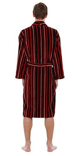 Bown of London - Luxuriöser Velours-Bademantel - Multi-Streifen Schwarz Orange Rot - Herren Schwarz/Orange/Rot