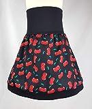 Kinderrock Kirsche mit schwarzen Bund Handmade Einzelstück verschiedene Größen Jersey Bund