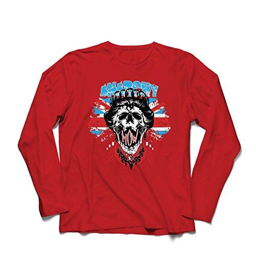 lepni.me Langarm Herren T Shirts Anarchie-Königin, Straßenmode, anarchistisches Symbol, antipolitische Kunst (Medium Rot Mehrfarben)