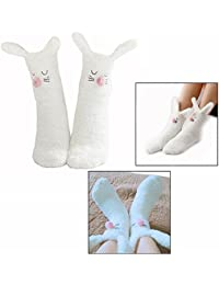 Cisixin Women Girls Winter Bunny Rabbit Slipper Socks Non Slip Indoor Home Floor Bed Sock (White)