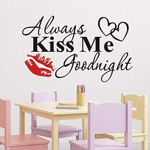 TianranRT Always Kiss Me Goodnight Red Lips Adesivo Preventivo Adesivo Smontabile DecalcomaniaNero rosso