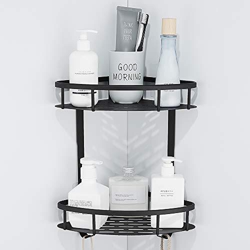Gricol Badezimmer Dusche Eckregal 2 Ebenen Raum Aluminium Dreieck Wanddusche Regale Caddy Wandaufkleber Ablagekorb für Küche Bad schwarz