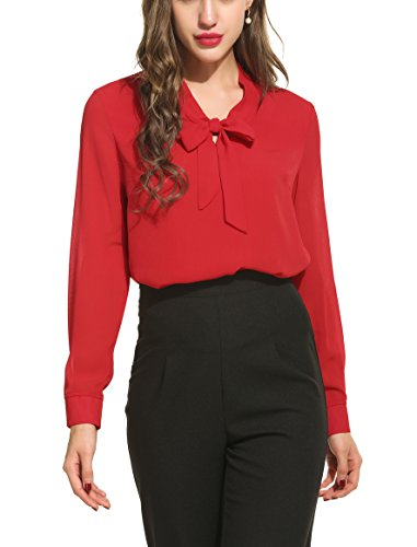 ANGVNS Womens Casual Chiffon Ladies V-Neck Cuffed Sleeve Blouse Tops (Small, Red)