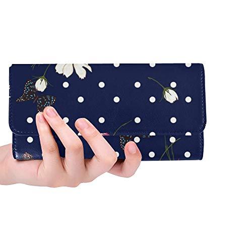 Einzigartige benutzerdefinierte blühende Wilde Blumen Polka Frauen Trifold Wallet Lange Geldbörse Kreditkarteninhaber Fall Handtasche -