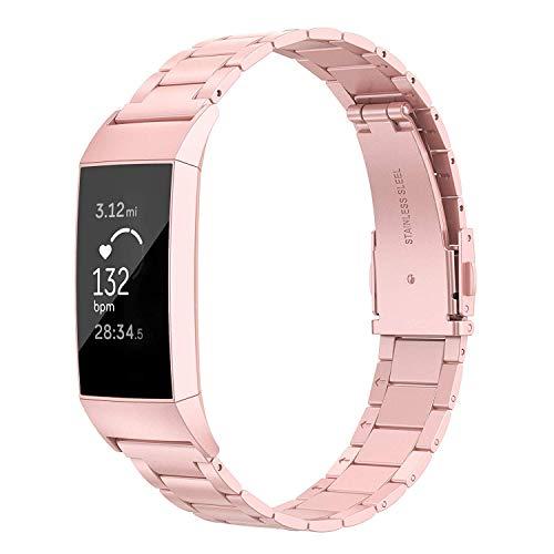 Wearlizer für Fitbit Charge 3 Armband Edelstahl Metall Leicht Ersatzband für Fitbit Charge 3 SE - Rosa