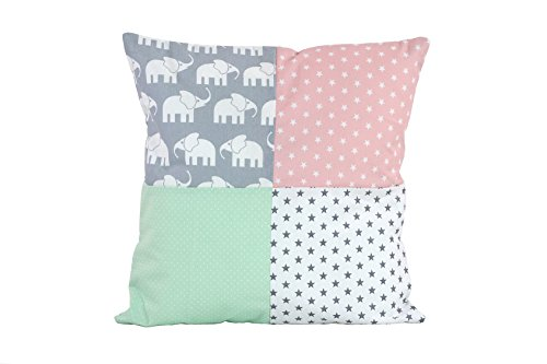 BEBILINO ® Patchwork Kissenbezug Elefant Mint Rosa (40x40 cm Kissenhülle, Baumwolle, ideal als Kinderzimmer Dekokissen, Motiv: Elefanten, Sterne)