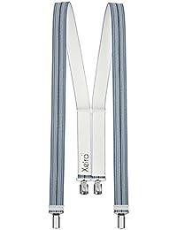 Xeira - Bretelles de haute qualité pour Femmes / Hommes avec 4 clip extra fort 3,5cm large en 30 couleur design differentes - Fabriqué en Allemagne