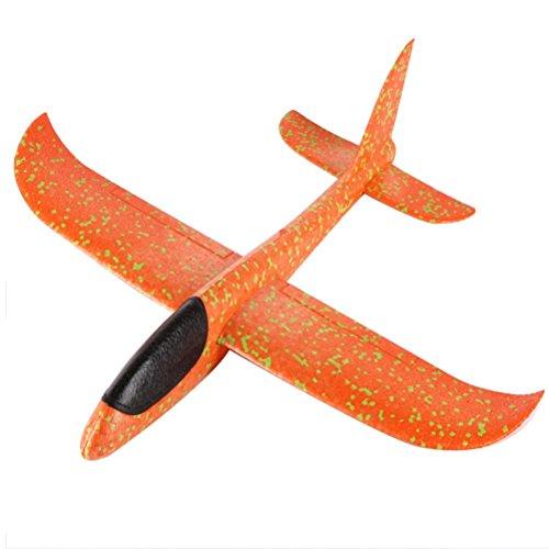 Elecenty Fliegende Spielzeug, Schaum Wurfgleiter Flugzeug Baby Spielzeug Hand starten Kinderspielzeug Flugzeug-Modell Flugzeugmodell Hubschrauber (33 * 34cm, Orange)