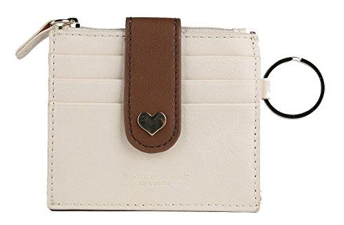 Artmi RFID Blocking Porta Carte di Credito Mini Portafoglio per donne, schermo con portachiavi multicolore Beige Slim
