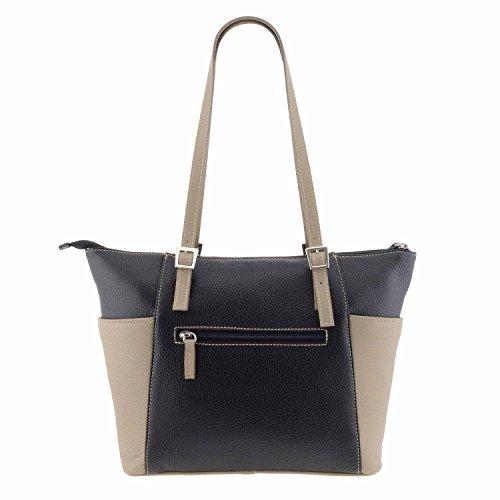 Stile borsa di pelle cestino NEGRO/TAUPE