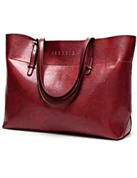 Womens Soft Leather Handbags Large Capacity Retro Vintage Top-Handle Casual Tote Bags 2Size/13in and 15.5in (Attention Logo)