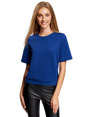 oodji Collection Femme Sweat-shirt Reliéfé Manche Courte Bleu (7500N)