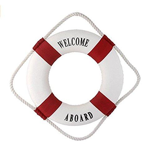 Beito Estone - Bouée de sauvetage nautique décorative «Welcome Aboard» à suspendre au mur (Rouge, 45cm)