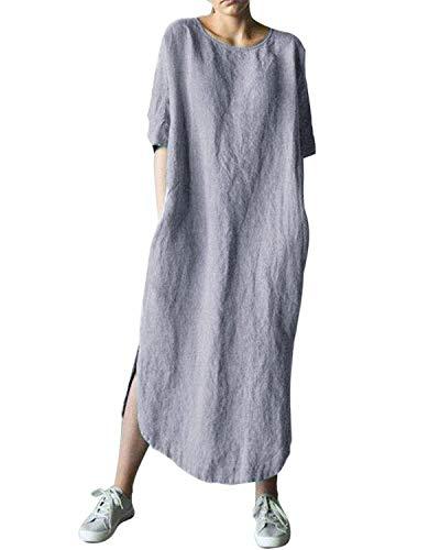 AUDATE Damen Plus Size Lose 3/4 Ärmel Kleider Baumwolle Leinen Lange Kaftan Kleid mit Taschen Grau DE 38 - Lange Ärmel, Eine Tasche