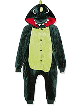 Kigurumi Costume Cosplay Halloween E Pigiama-Green Dragon, Pijama Unisex-Niños