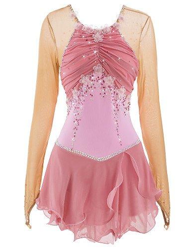 Heart&M Eiskunstlauf Kleid für Mädchen Frauen Handmade Rollschuhkleid Wettbewerb Kostüm Applique Blume Strass Langärmelige Rosa, (Eiskunstlauf Kostüme Über Die Jahre)
