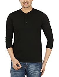 Thread Swag Men's Full Sleeve Cotton Henley T-Shirt With Mandarin Collar - Black Color