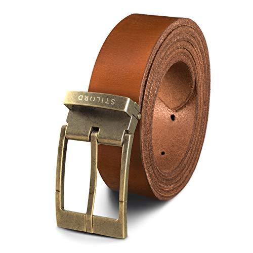 STILORD Cinturón de Cuero Vintage Hombres Mujeres Universal Acortable Piel Genuina de Búfalo, Color:veneto - braun | Schnalle antik - bronzen I I, tamaño:Universal 80-130 cm