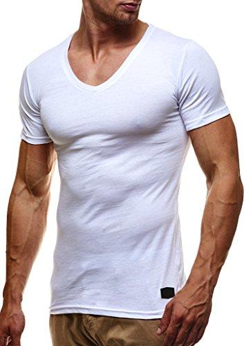 LEIF NELSON Herren Sommer T-Shirt V-Ausschnitt Slim Fit Baumwolle-Anteil | Basic Männer T-Shirt V-Neck Hoodie-Sweatshirt Kurzarm lang | LN6372 Weiß XX-Large -