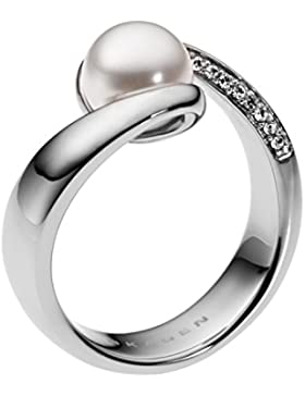 Skagen Damen-Ring Edelstahl Kunststoff Glaskristall weiß