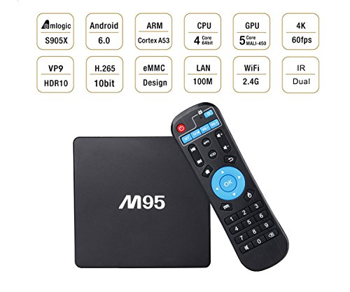 Android TV BOX Fully Loaded 4K Ultra HD Android 6.0 Marshmallow iOS TV Box Pro Amlogic S905X Quad Core Streaming Media Player WiFi 2.4GHz Support 3D Game