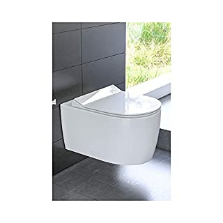 Ceramic Hanging Toilet Flush Rimless Toilet Incl. Toilet Seat with Soft-Close Rim Off (with Nano Coating
