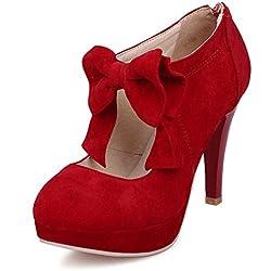 uBeauty Damen Mary Jane Pumps Bowknot Reißverschluss Schuhe High Heels Pumps mit Plateau Rot 42 EU