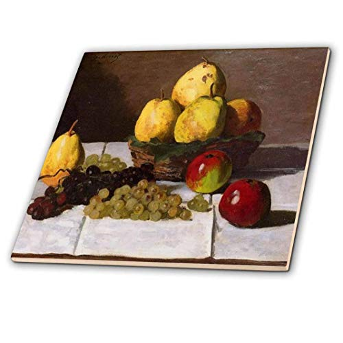 3drose Print von Monet Malerei Birnen und Trauben-Keramik Fliesen, 12Zoll (CT _ 203744_ 4) - Trauben-keramik-fliese