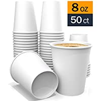 8 oz - White Coffee Paper Cups for Tea Water and Cocoa 50 ct