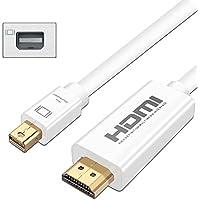 ULTRICS® Mini Displayport to HDMI, 1M Chapado en Oro Puerto de Pantalla Mini DP (Compatible con Thunderbolt) a HDMI HDTV Cable para Apple iMac, MacBook Pro, MacBook Air y PC - Blanco