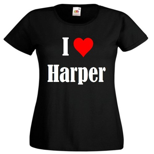 """T-Shirt """"I Love Harper"""" für Damen Herren und Kinder ... in der Farben Schwarz Weiss und Pink Rosa Schwarz"""