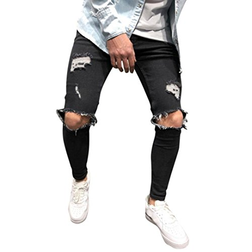 Pantalones Vaqueros Rotos Hombre Jeans Pantalones Vaqueros Elásticos Skinny Slim Fit Delgados, Pantalones Largos de Mezclilla de Cintura Baja de Pitillo STRIR (Negro, M)