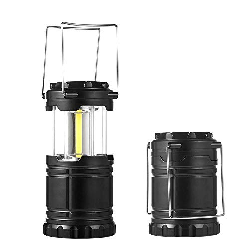 OOLOOYOO Tragbare LED-Camping Lantern, Ultra Bright Collapsible Lampe, Batterie Powered, Leichtbau-Camping-Leuchten für Wandern, Notfall, Hurricane, Power Outage, 1 Packung & 2 Packung,Black,2packs -
