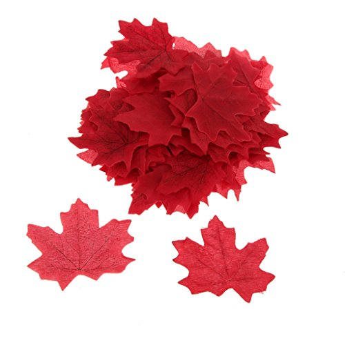 100x Künstliche Ahornblatt Herbst Blätter Kunstblumen Hochzeit Garten Dekoration – Weinrot