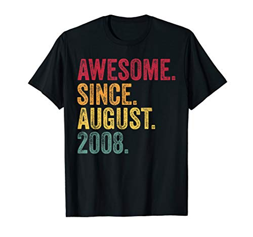 2008 Damen Rosa T-shirt (Awesome Since August 2008 11th Birthday Gift Vintage Retro T-Shirt)