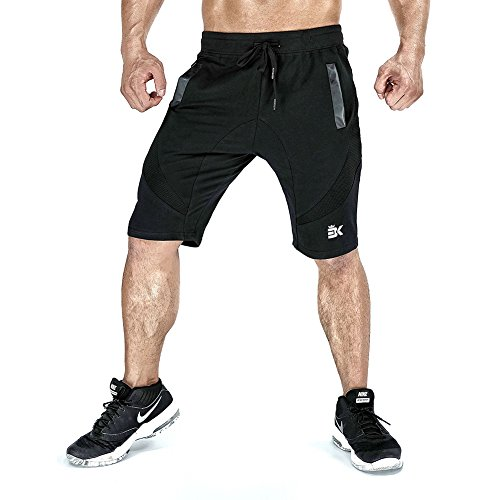 Zenwow Mens Gym Shorts, Sports Summer Cotton Running Mesh Fitted Shorts With Pockets