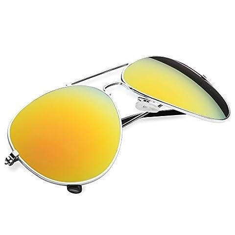 Taffstyle® Damen Herren Spiegelbrille Pilotenbrille Aviator Vintage Retro Style Piloten Police Sonnenbrille verspiegelt Pornobrille - Gelb