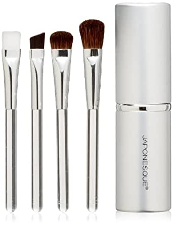 JAPONESQUE Beautiful Eyes Touch Up Tube Brush Set, Silver