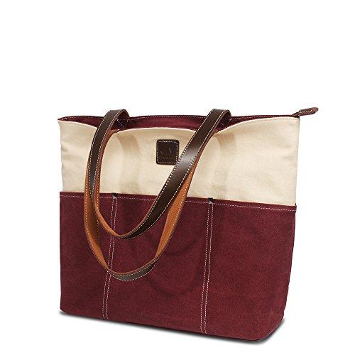 Bwiv borsa tote da donna di tela colori a contrasto borsa a mano con grande capacità Bianco e cachi Bianco e granata